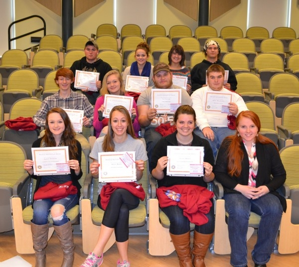 The 12 Career and Technical Education students who were recognized at today's assembly. In the front row, left to right, is Sarah Spencer, Patty Brady, Kelsey Brann and Autumn Clair. In the middle row, left to right, is Nate Vining, Sadie Knight, Tim Decker and Scott Bachelder. In the top row, left to right, is Hayden York, Haley Bickford, Grace Libby and Nathan Fahn. All of the students are from Mt. Blue RSD, except for Bachelder and York, who are from MSAD 58.